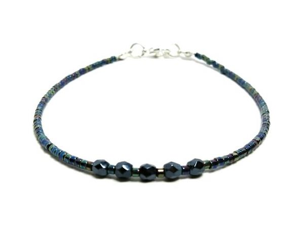 Tiny Blue Black Stacking Seed Bead Fashion Anklet | Silver Sensations